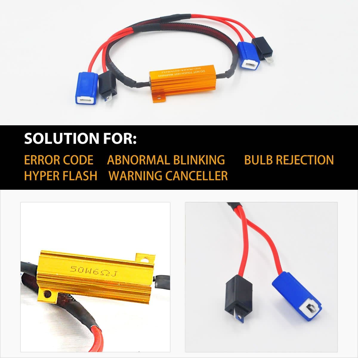 H1 Led Headlight Fog Bulb Resistor Canbus Error Free Anti Flicker 12v H11 Light Lamp Load Wiring Hid Warning Canceller 2pcs