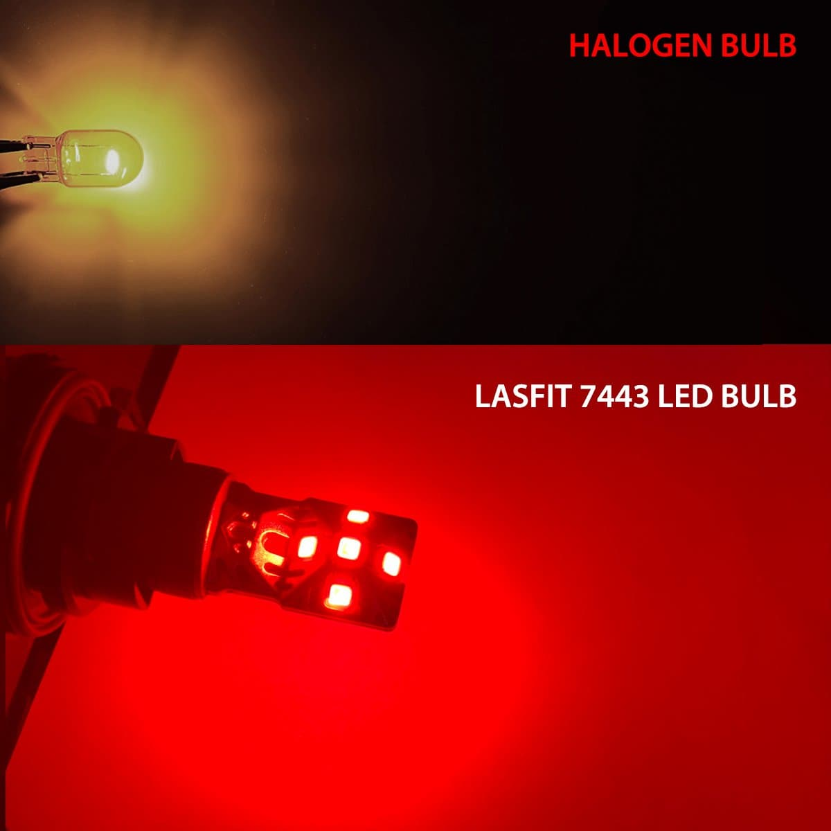 LASFIT 2x Red 7443 7444 LED Brake Stop Light Bulb for Ford GMC Super Bright