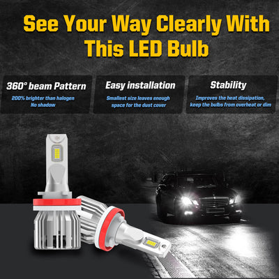 2014-2019 Ford Fiesta LED Bulbs H11 Interior Exterior Light Plug and Play