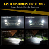 LASFIT LA 9004 HB1 LED Headlight Bulb Conversion Kit High and Low Beam Headlamps 72W 7600LM 6000K White  Flip Chips Light Source