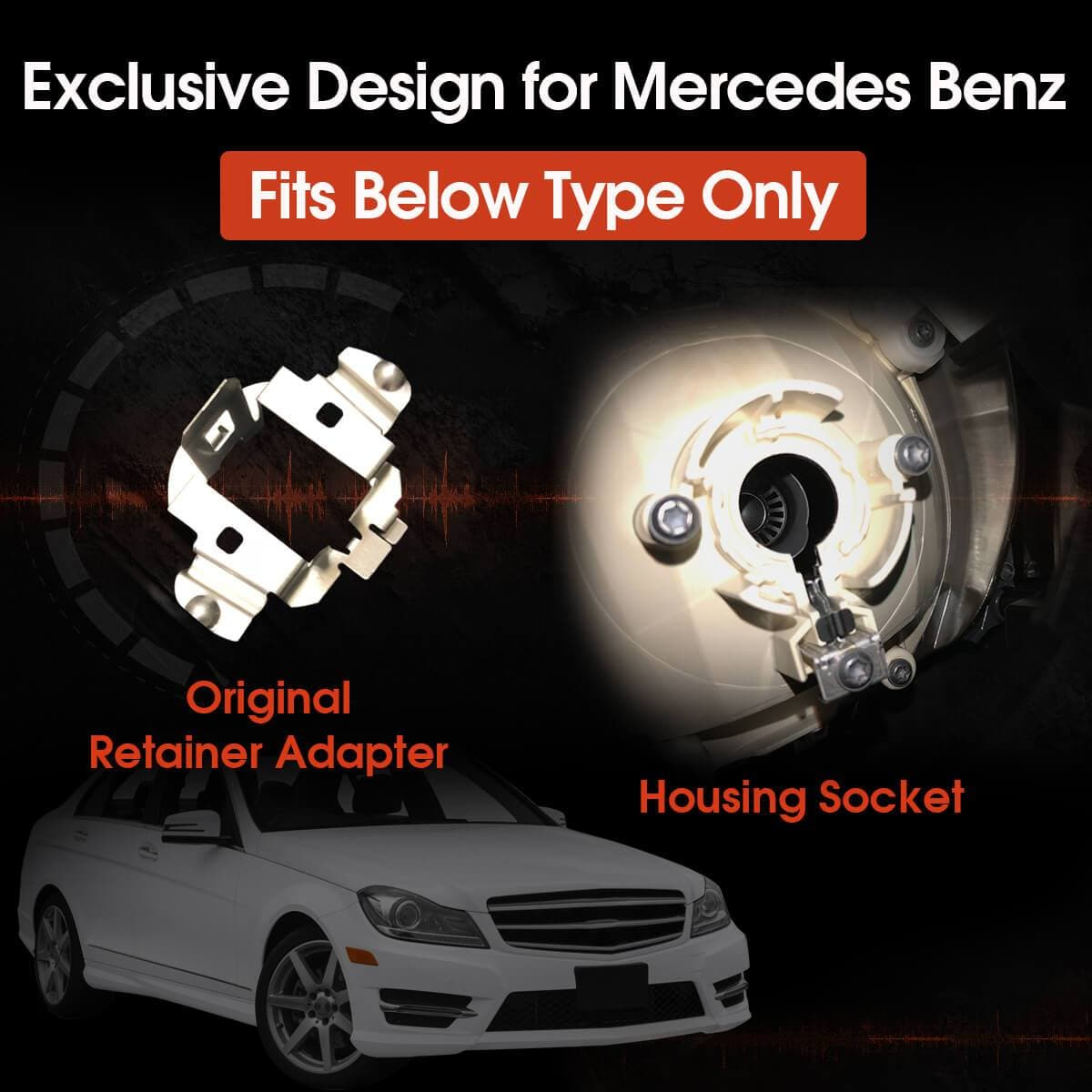 Custom H7 LED Headlight Bulb All-in-One Retainer Adapter Holder for  Mercedes Benz 100W