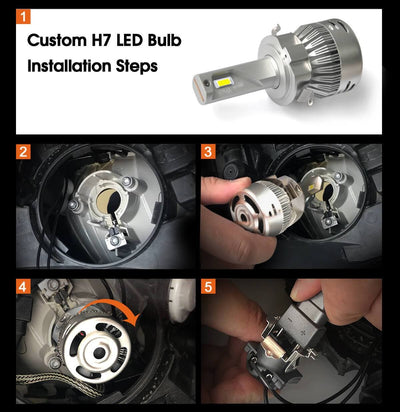 Custom H7 LED Bulbs for Mercedes Benz Volkswagen Tiguan with Retainer Adapter Plug n Play
