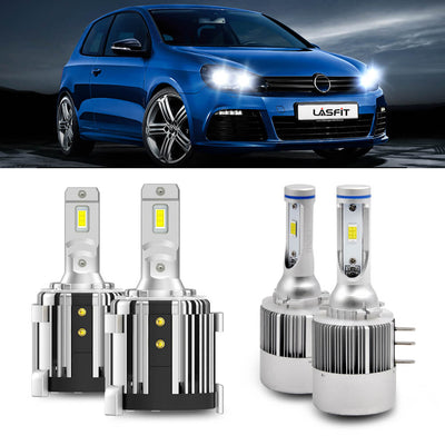 LA H11 H9 H8 LED Headlight High/Low Beam Fog Light Flip Chip 72W 7600LM 6000K