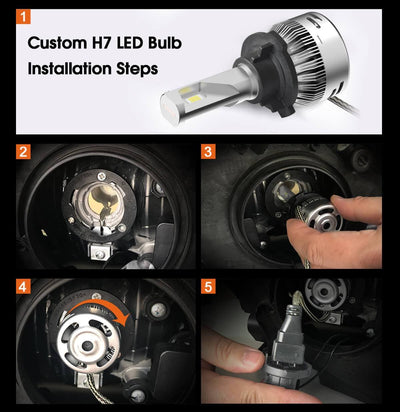 Custom H7 LED Bulbs fit VW Polo MK5 Touran Plug and Play Pro-VW8|2 Bulbs