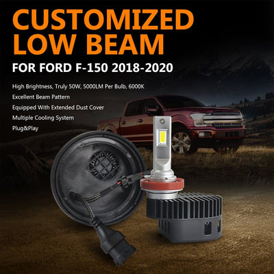 2018 2019 2020 Ford F-150 Custom Fit LED Headlight High Low Beam H11 9005 w/Dust Cover