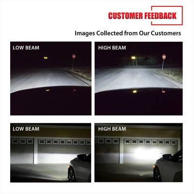 Lasfit LC6 9055 customer feedback images of high beam and low beam light show