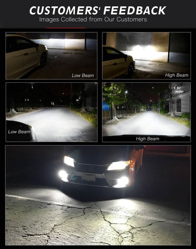 Lasfit LS H7 customer feedback pictures of high beam and low beam