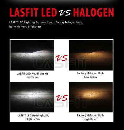 LASFIT L1 5202 2504 PSX24W 5201 9009 LED Fog Light Bulbs, Fanless Noiseless, Genuine Cree Chips