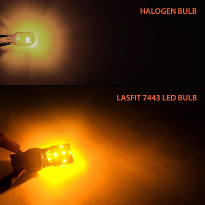 lasfit 7440 amber led light vs halogen lamp