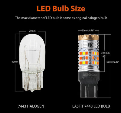 lasfit T-7443D led size and halogen bulb size comparison