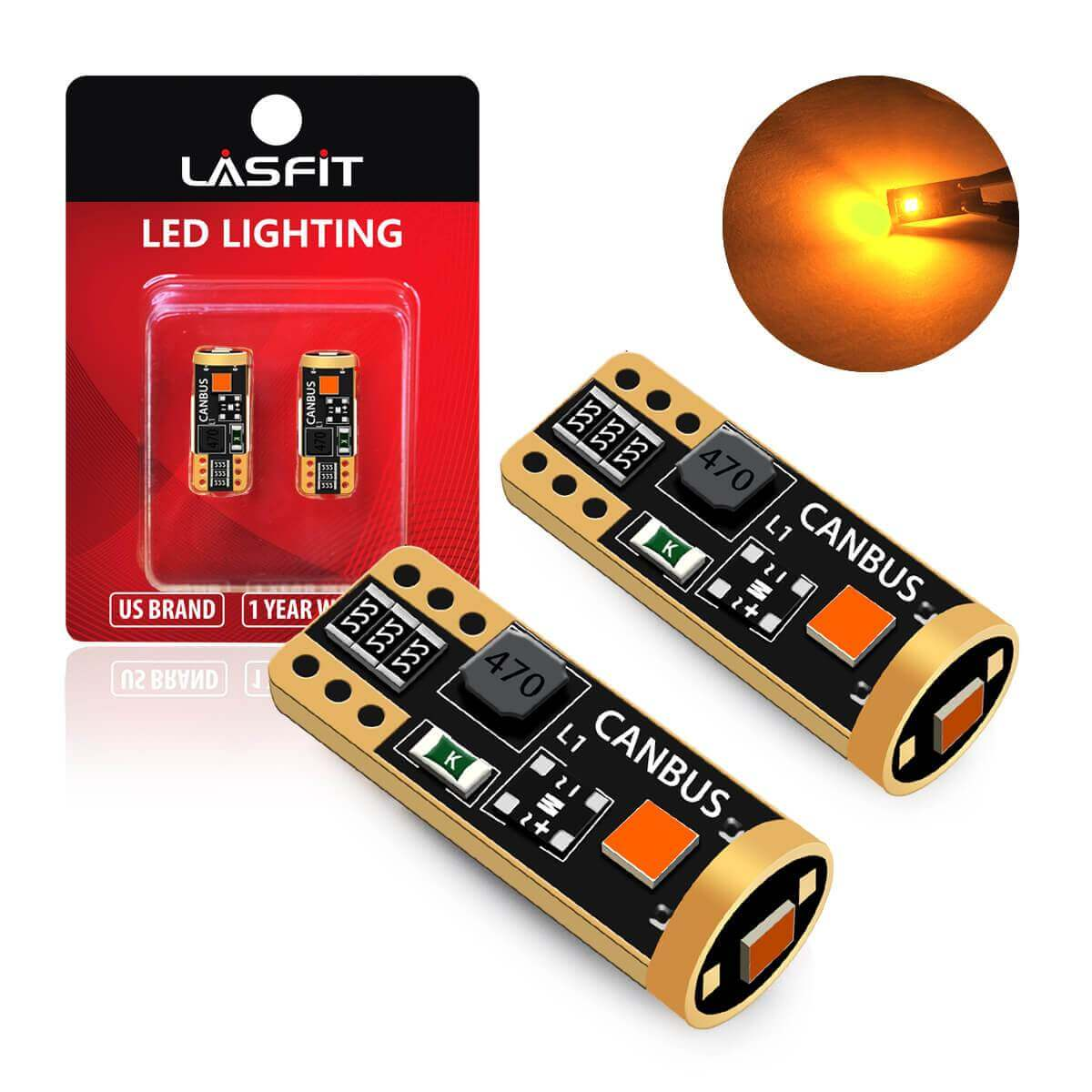 Pack of 2 AUTOONE 168 2825 W5W T10 Light Bulbs Error Free for Dome Map Trunk Door License Plate Lights 194 Amber LED Bulbs