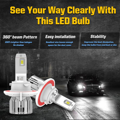 LC Plus H13 9008 LED Bulb 50W 5000LM 6000K White|2Bulbs