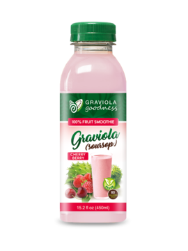 Graviola 100% Fruit Smoothie - Strawberry Cherry Flavor - case of 12/15.2 oz - Graviola Goodness