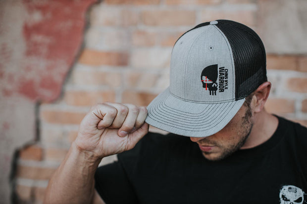 Half Skull 90 - Snapback Hat - Heather Grey / Black Hat Stitches Ink
