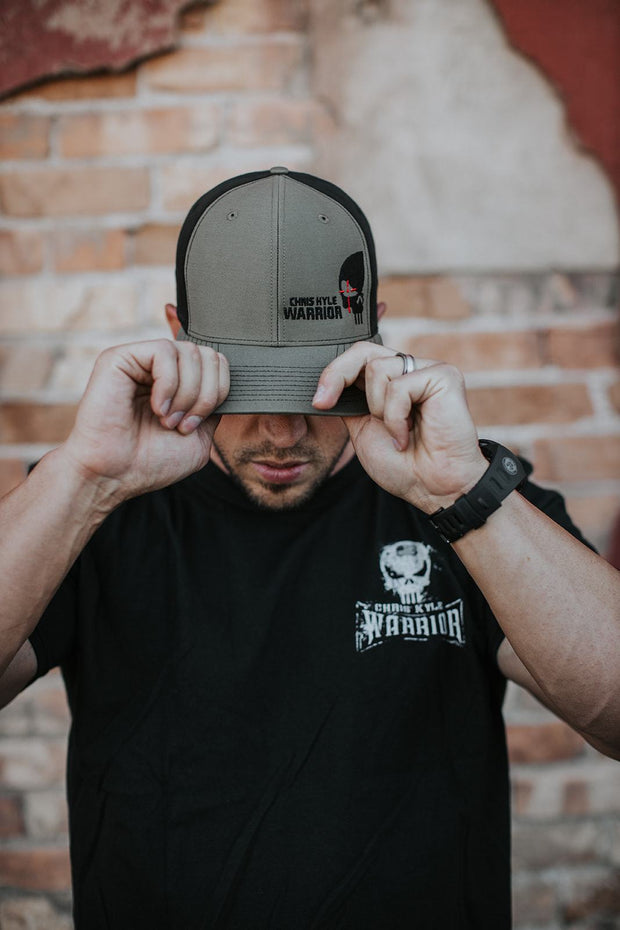 Half Skull HZ - Snapback Hat - Military Green / Black Hat Stitches Ink