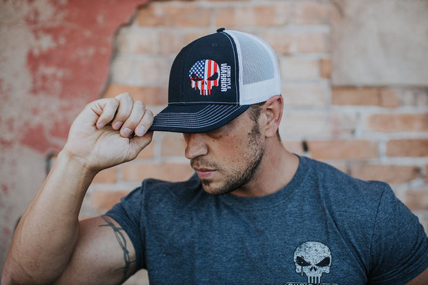 Patriotic 90 - Snapback Hat - Navy / White Hat Stitches Ink