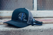 Tonal Blue Line 90 - Snapback Hat - Black / Charcoal Hat Stitches Ink