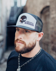 Skull Head - 7 Panel Snapback Hat - Heather Grey / Black Hat Stitches Ink