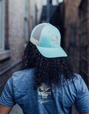 Skull Head - Snapback Hat - Mint Green / Tan Hat Stitches Ink