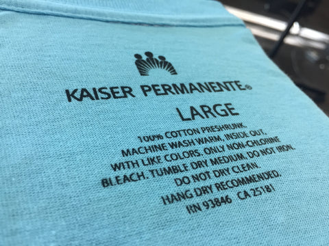 Screen Printed Tagless Tags For Kaiser Permanente
