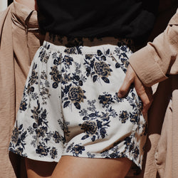 Floral Shorts - Deep Blue & Vanilla Cream