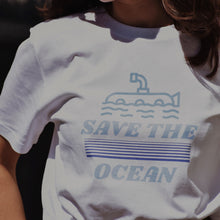 White organic and recycled plastic bottle t-shirt with blue save the ocean print.