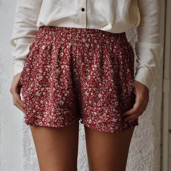 Floral Shorts - Ruby & Cream