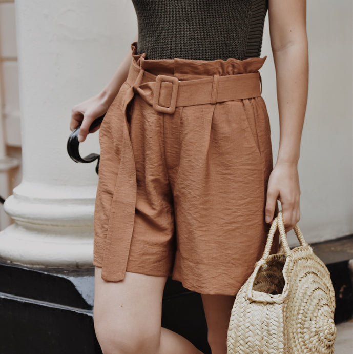 Rust  Rust High Waisted Belted Shorts with pockets.