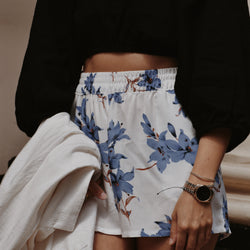 Floral Shorts - Santorini White & Blue