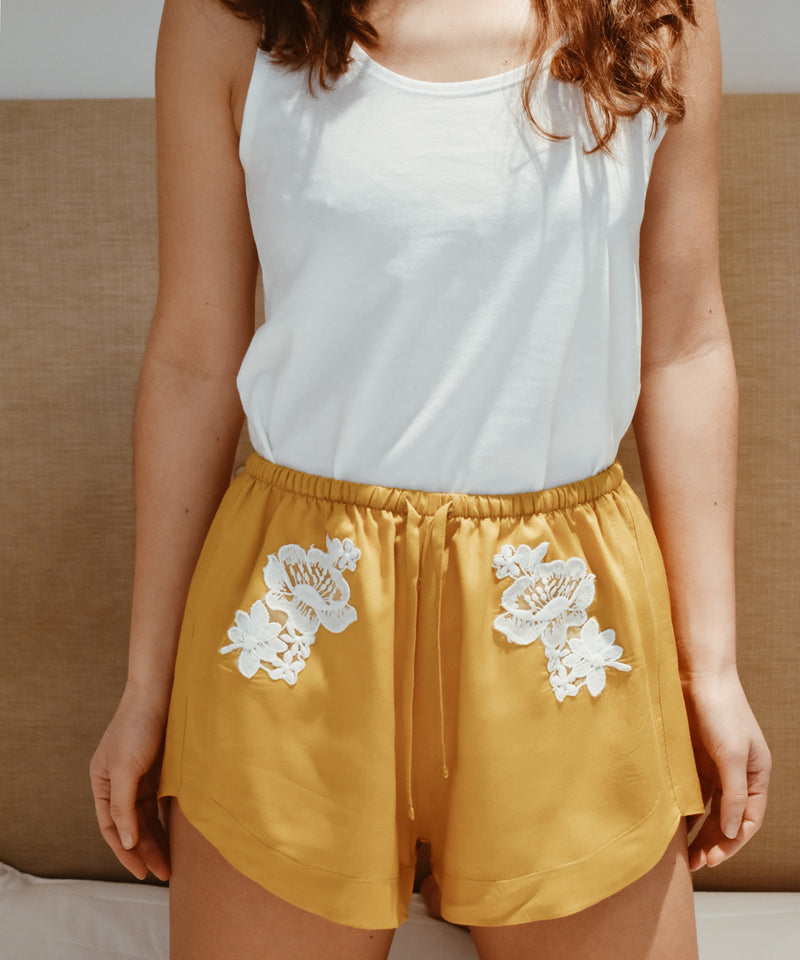 Loungewear - Organic Top & Lace Shorts in Indian Summer Gold