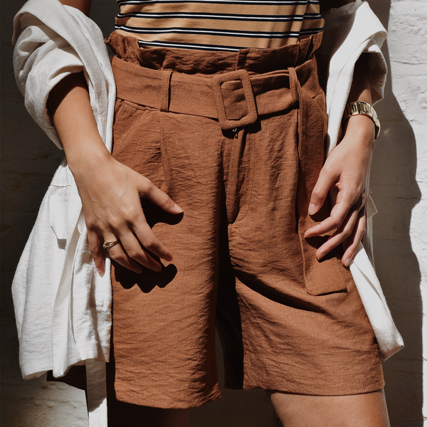 High Waisted Belted Shorts - Rust