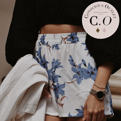 Conscious Outlet - Floral Shorts - Santorini White & Blue