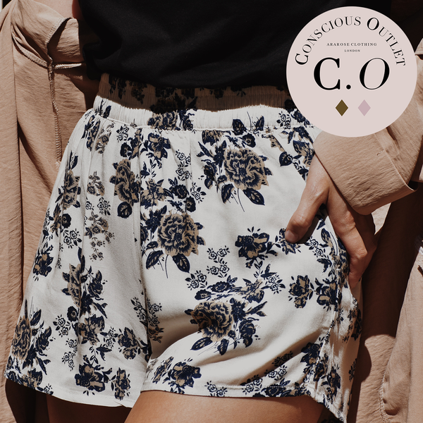 Conscious Outlet Floral Shorts - Deep Blue & Vanilla Cream