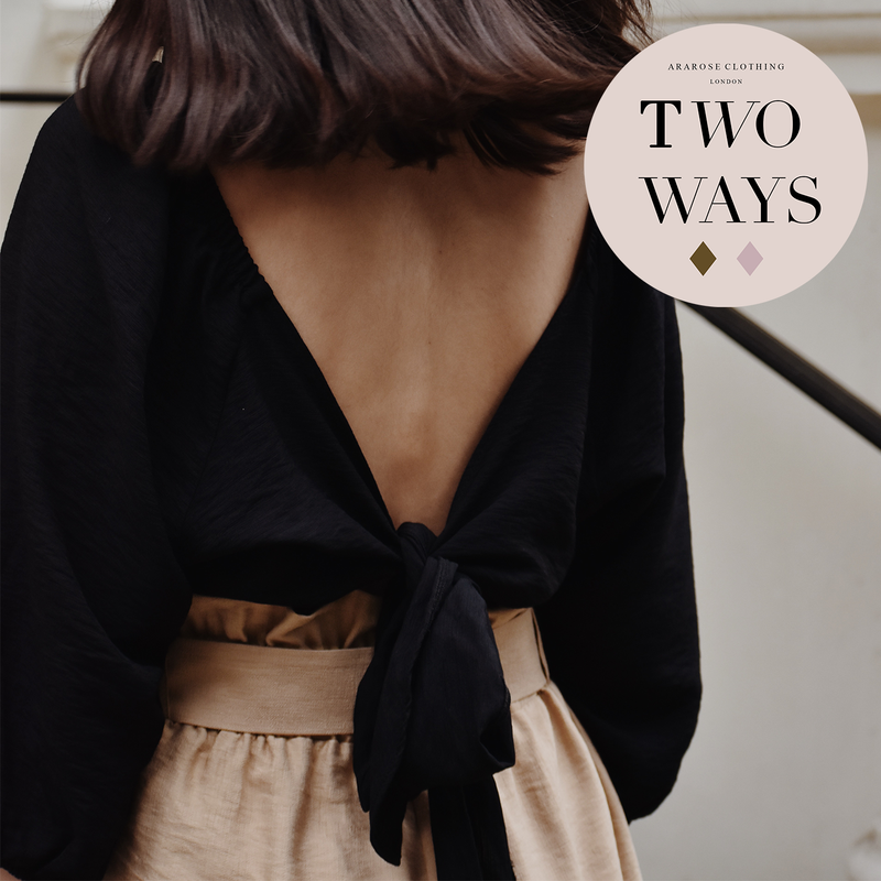 Two Way Wrap Top - Charcoal Black