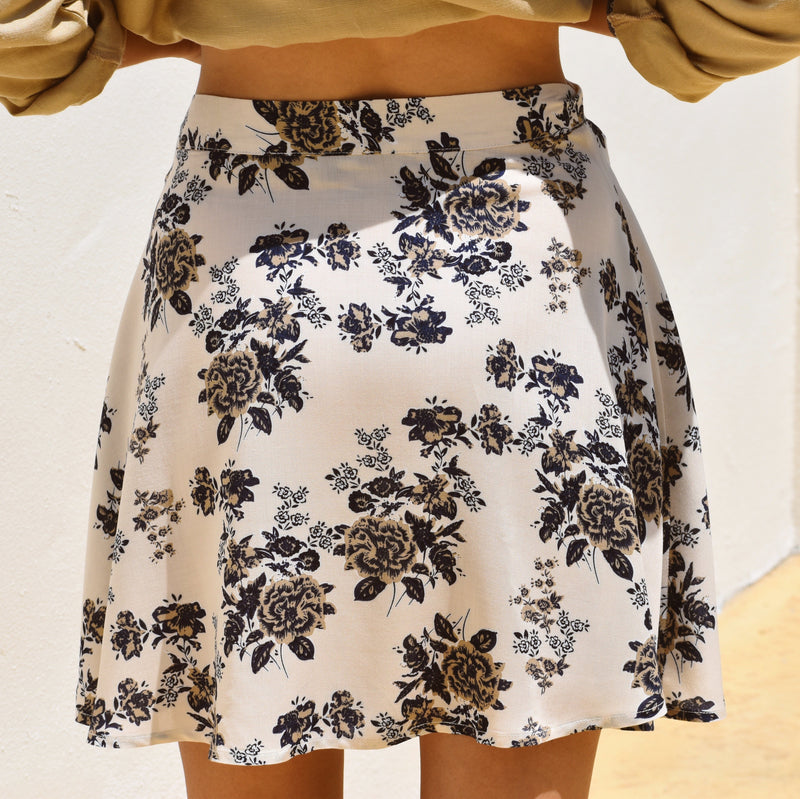 Conscious Outlet Floral Skirt - Deep Blue & Vanilla Cream