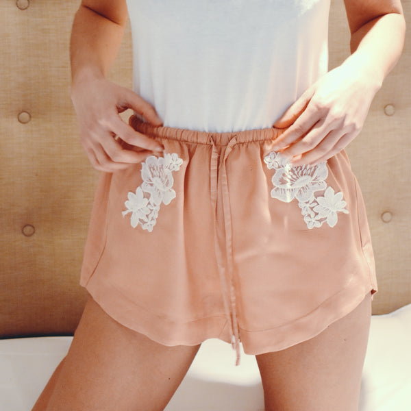 Loungewear - Organic Top & Lace Shorts in Rose Blush Pink 🌳🌳