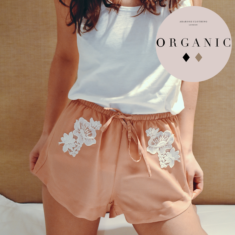 Loungewear - Organic Top & Lace Shorts in Rose Blush Pink
