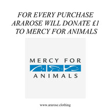 For every purchase Ararose will donate £1 to Mercy for Animals