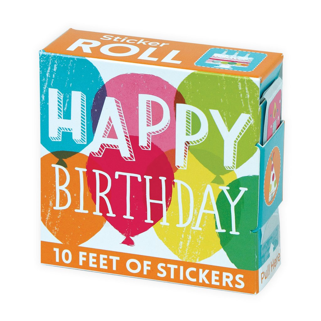 Happy birthday sticker roll small red bot
