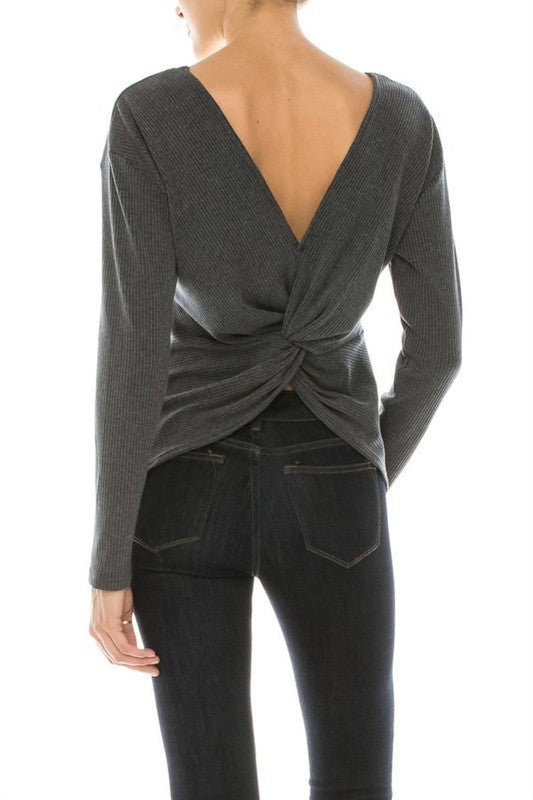 Shades of Gray Wrap Back Top