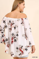 Norah Floral Bell Sleeve Top in Ivory