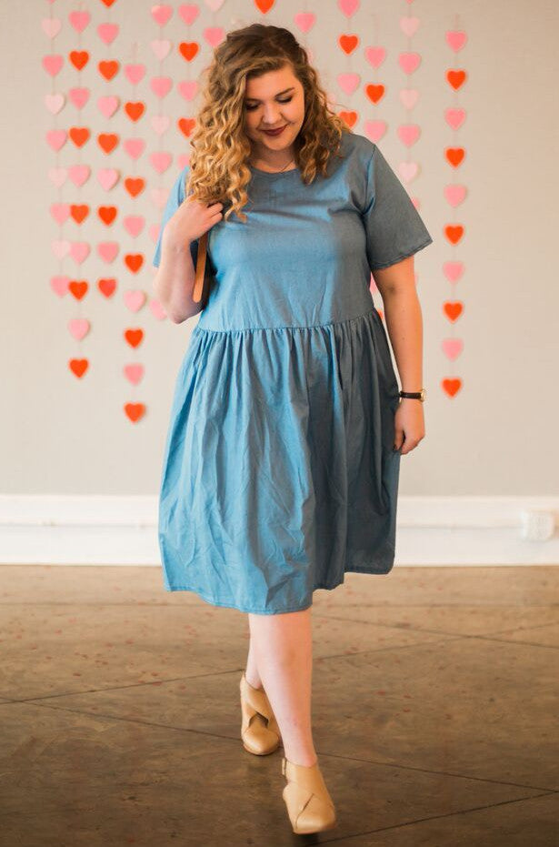Heather Drop Waist Dress in Denim