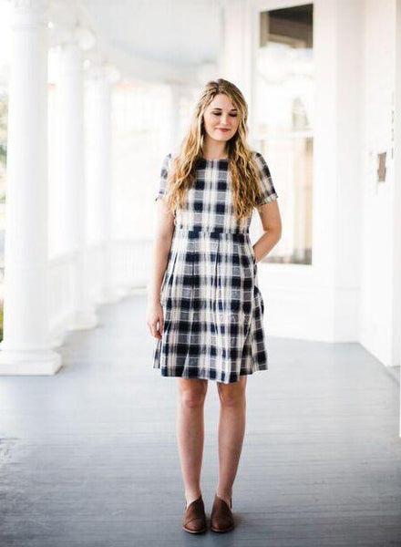 Gingham Style Knee Length Dress in Navy