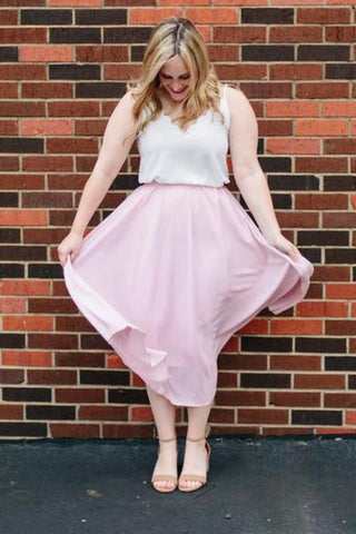 Fancy Free Midi Skirt in Sweet Rose