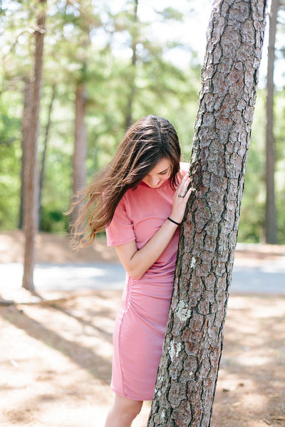 Side-cinched T-shirt Dress in Rose