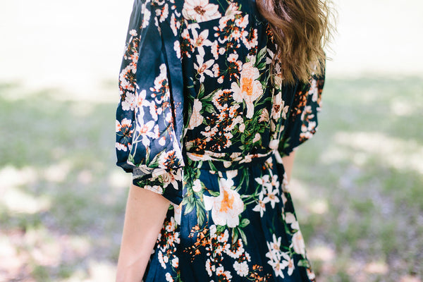 Window Box Florals Wrap Dress in Navy