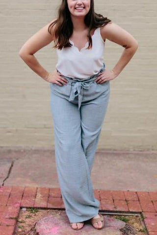 A Little Flare Paper Bag Waist Pants in Blue