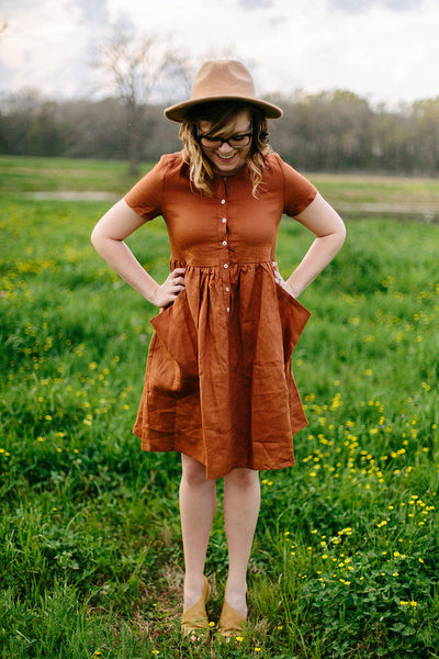 Sicilian City Slicker Linen Dress in Rust