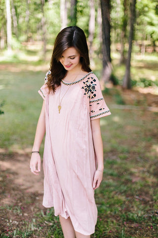 Abigail Tribal Sleeve Midi Dress in Pink