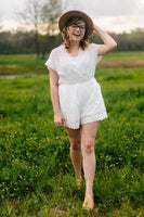 All Eyelets on Me Romper in White Lace